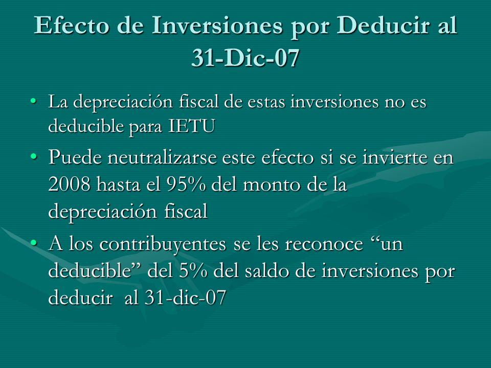 Efecto de Inversiones por Deducir al 31-Dic-07 La depreciación fiscal de estas inversiones no es deducible para IETULa depreciación fiscal de estas in