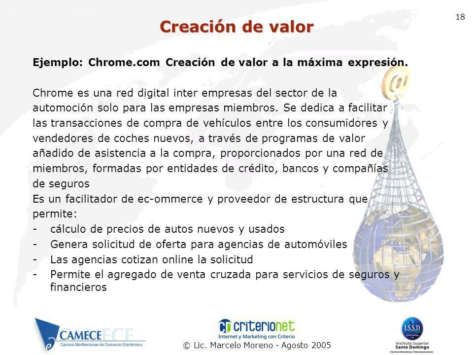 © Lic. Marcelo Moreno - Agosto 2005 18 Ejemplo: Chrome.com Creación de valor a la máxima expresión. Chrome es una red digital inter empresas del secto
