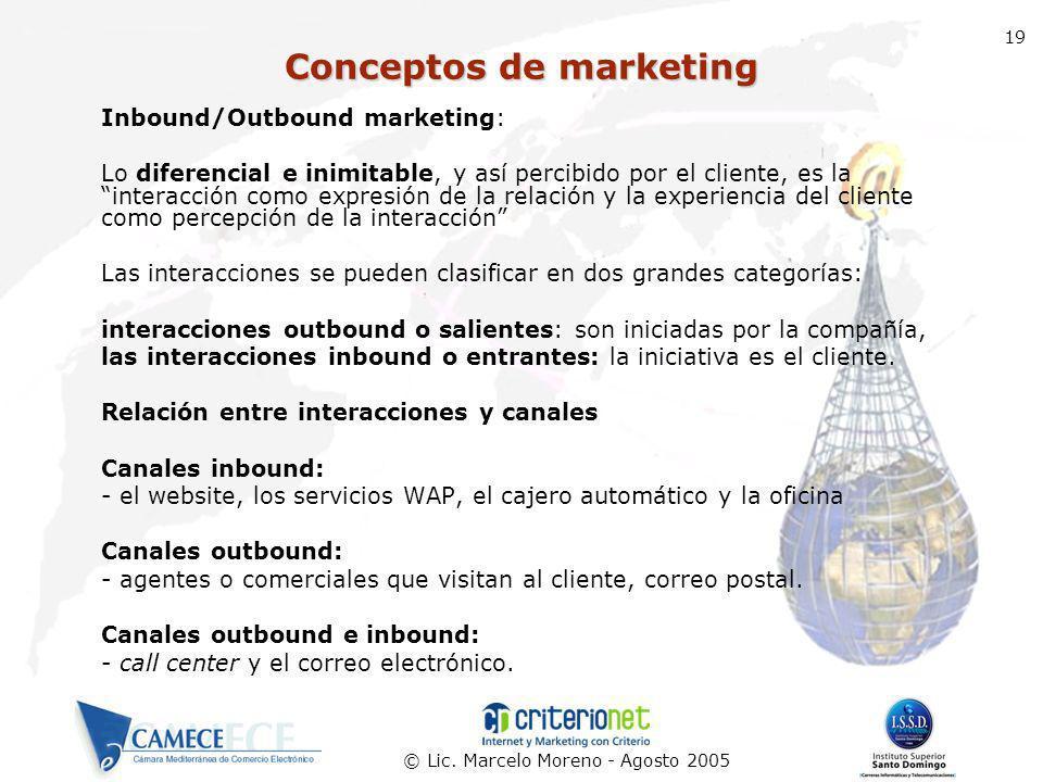 © Lic. Marcelo Moreno - Agosto 2005 19 Inbound/Outbound marketing: Lo diferencial e inimitable, y así percibido por el cliente, es la interacción como
