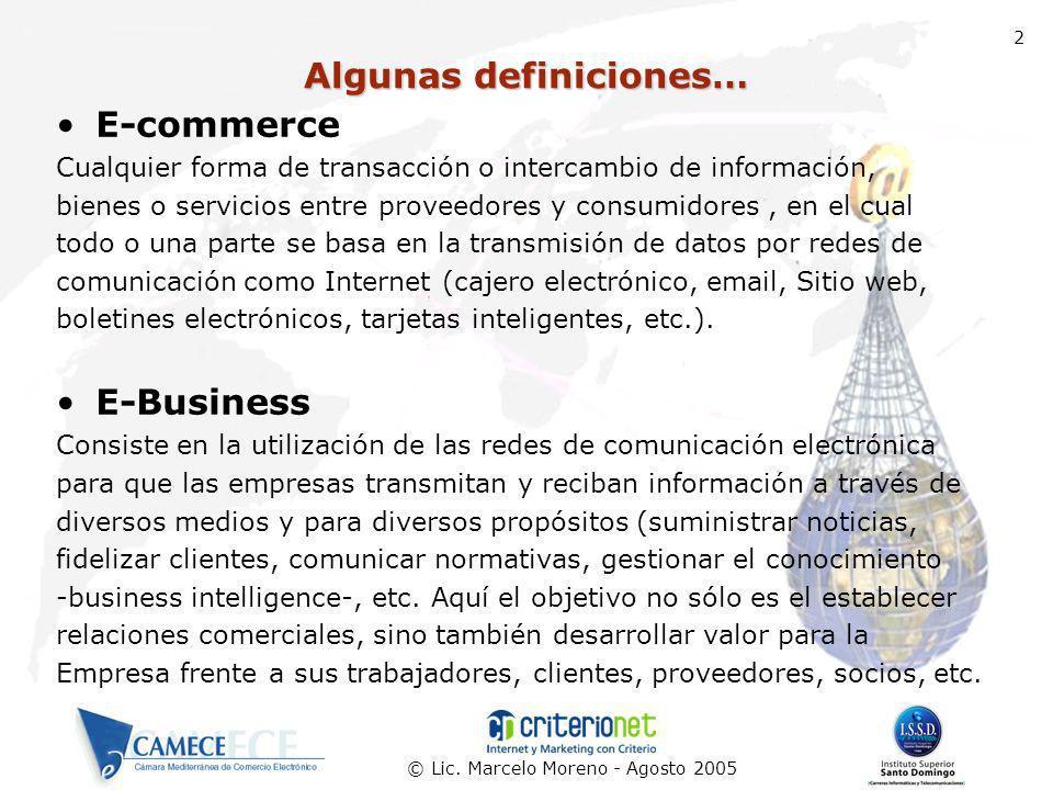 © Lic. Marcelo Moreno - Agosto 2005 2 Algunas definiciones… E-commerce Cualquier forma de transacción o intercambio de información, bienes o servicios