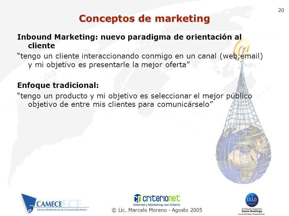 © Lic. Marcelo Moreno - Agosto 2005 20 Inbound Marketing: nuevo paradigma de orientación al cliente tengo un cliente interaccionando conmigo en un can