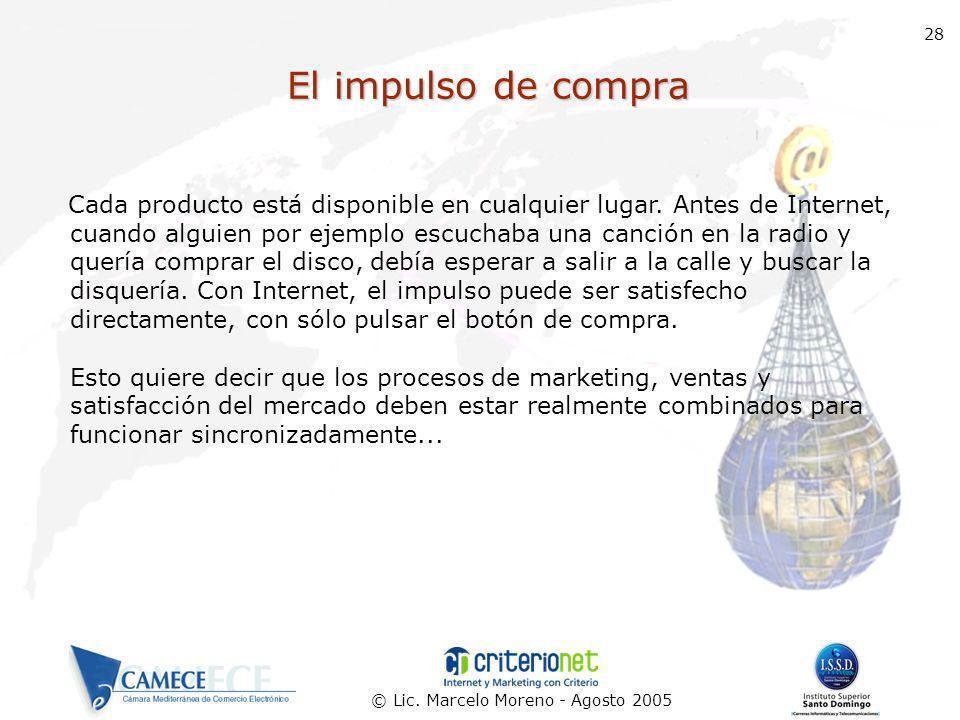 © Lic. Marcelo Moreno - Agosto 2005 28 El impulso de compra Cada producto está disponible en cualquier lugar. Antes de Internet, cuando alguien por ej