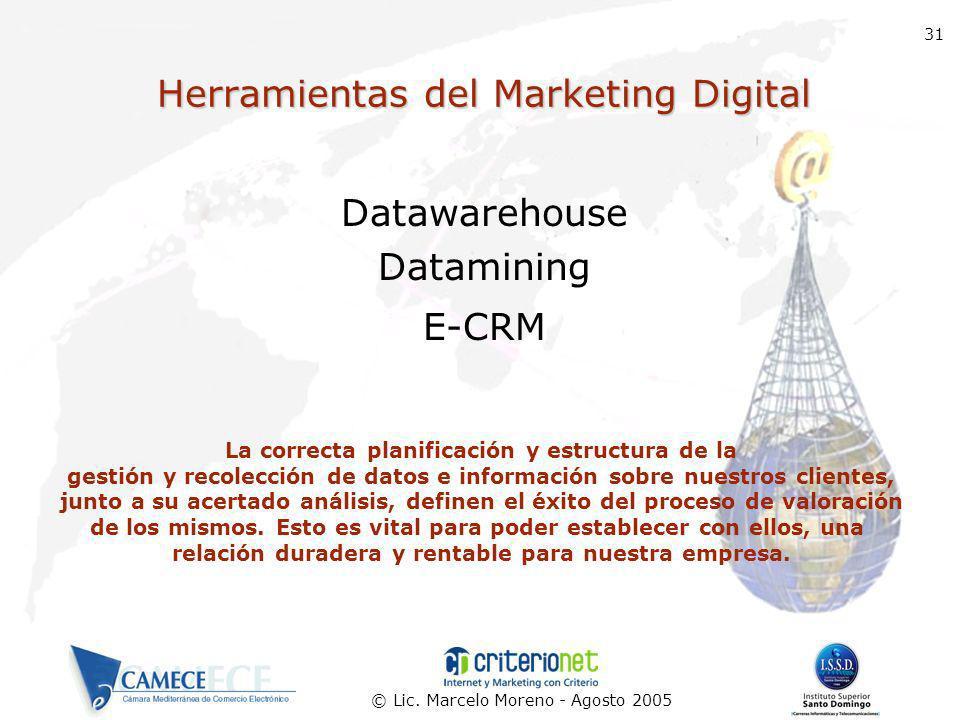 © Lic. Marcelo Moreno - Agosto 2005 31 Herramientas del Marketing Digital Datawarehouse Datamining E-CRM La correcta planificación y estructura de la