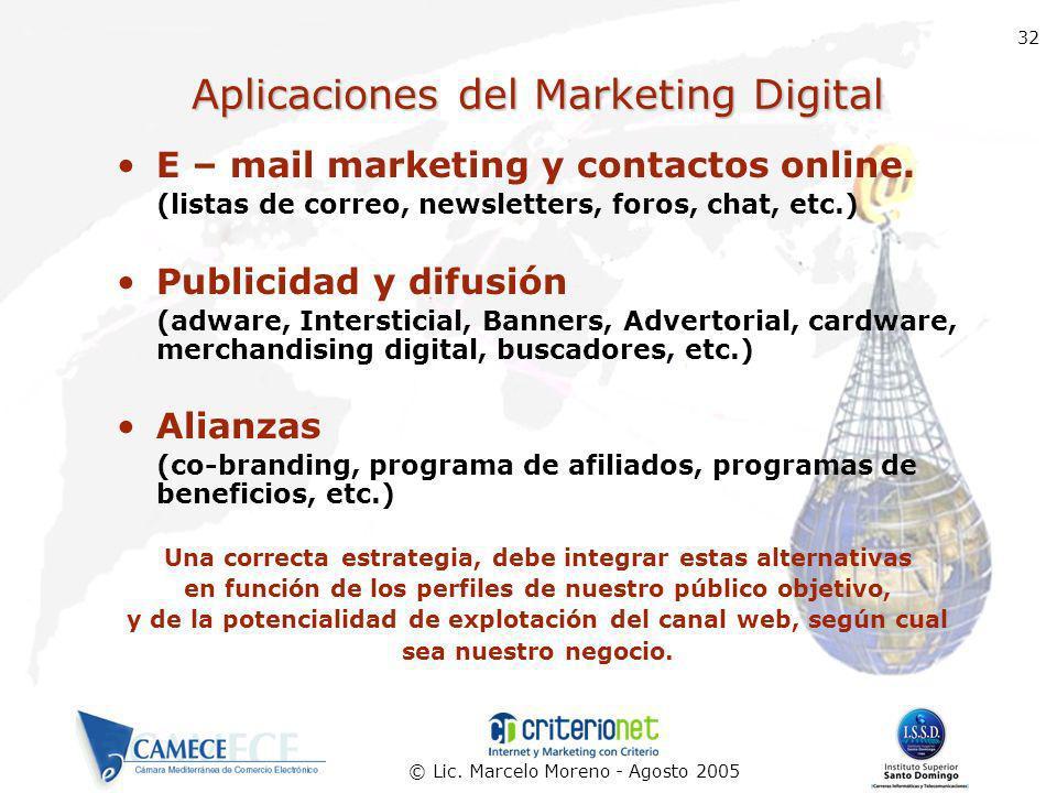 © Lic. Marcelo Moreno - Agosto 2005 32 Aplicaciones del Marketing Digital E – mail marketing y contactos online. (listas de correo, newsletters, foros