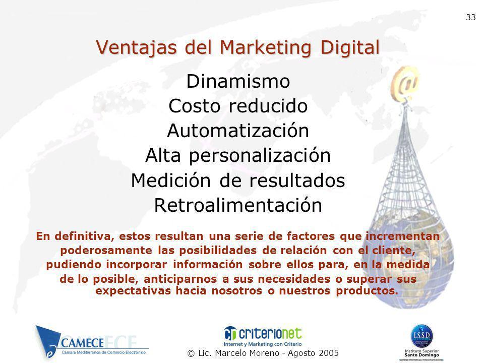 © Lic. Marcelo Moreno - Agosto 2005 33 Ventajas del Marketing Digital Dinamismo Costo reducido Automatización Alta personalización Medición de resulta