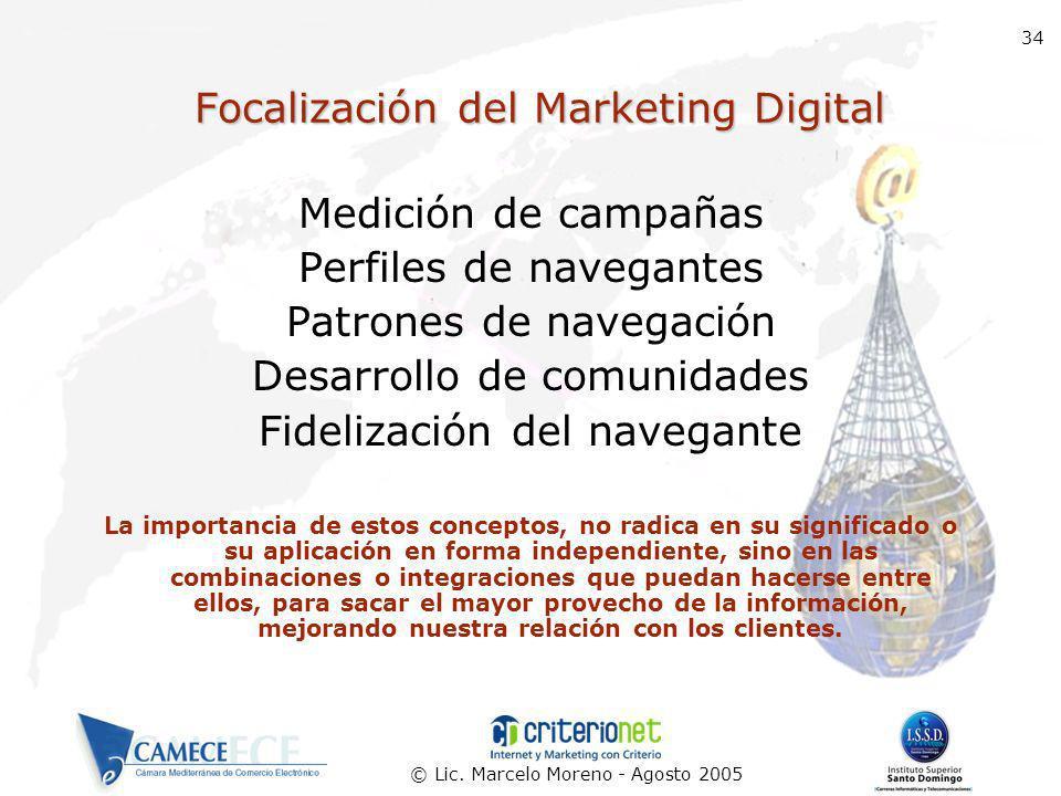 © Lic. Marcelo Moreno - Agosto 2005 34 Focalización del Marketing Digital Medición de campañas Perfiles de navegantes Patrones de navegación Desarroll
