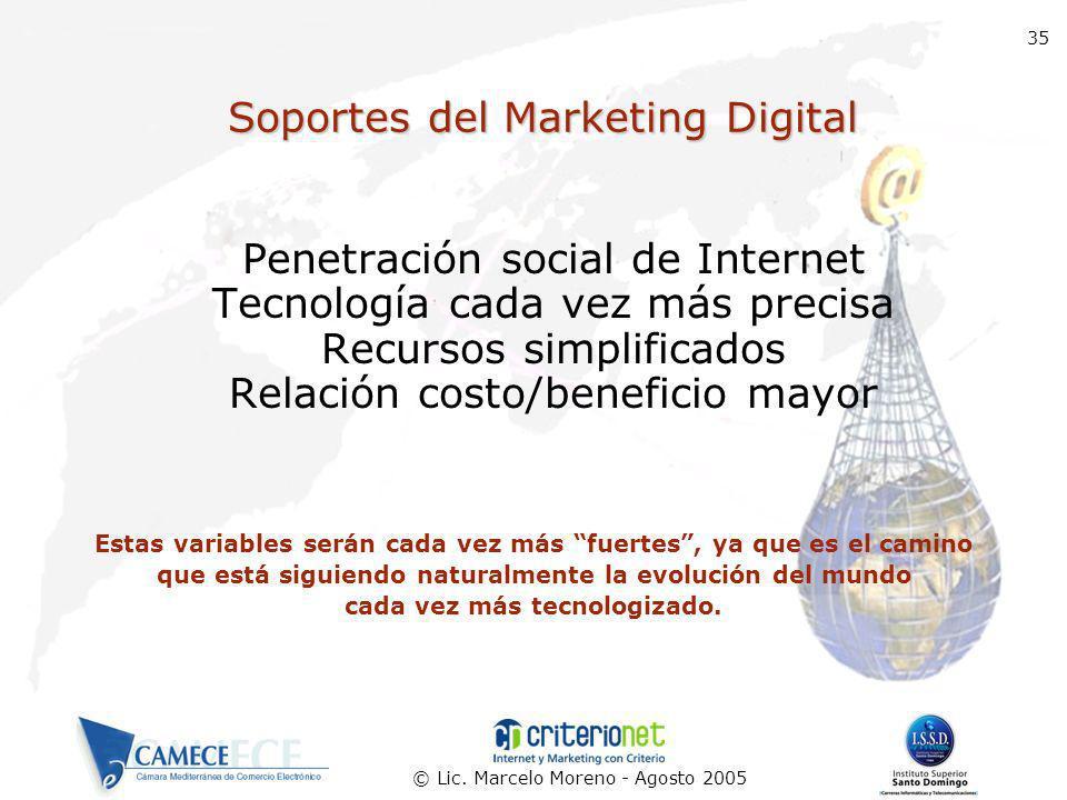 © Lic. Marcelo Moreno - Agosto 2005 35 Soportes del Marketing Digital Penetración social de Internet Tecnología cada vez más precisa Recursos simplifi