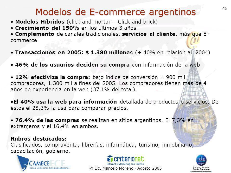 © Lic. Marcelo Moreno - Agosto 2005 46 Modelos de E-commerce argentinos Modelos Híbridos (click and mortar – Click and brick) Crecimiento del 150% en