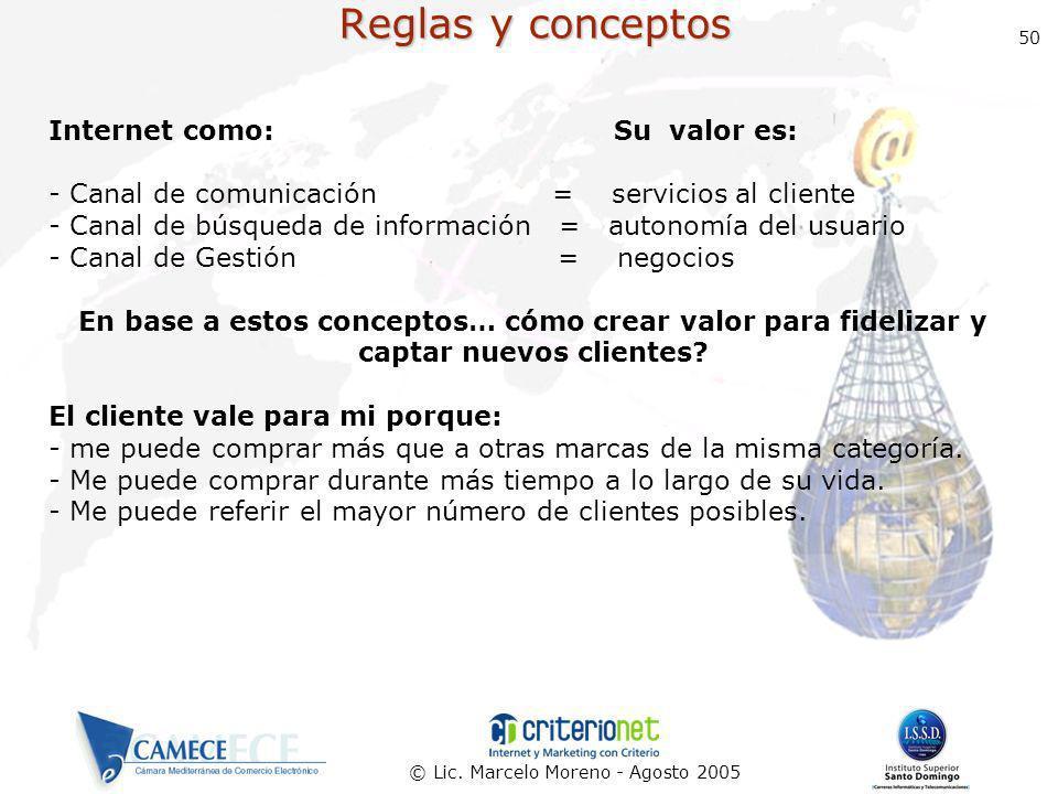 © Lic. Marcelo Moreno - Agosto 2005 50 Reglas y conceptos Internet como: Su valor es: - Canal de comunicación = servicios al cliente - Canal de búsque