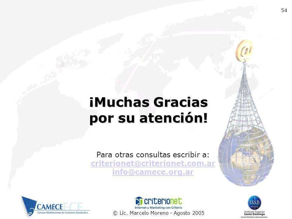 © Lic. Marcelo Moreno - Agosto 2005 Para otras consultas escribir a: criterionet@criterionet.com.ar info@camece.org.ar 54 ¡Muchas Gracias por su atenc