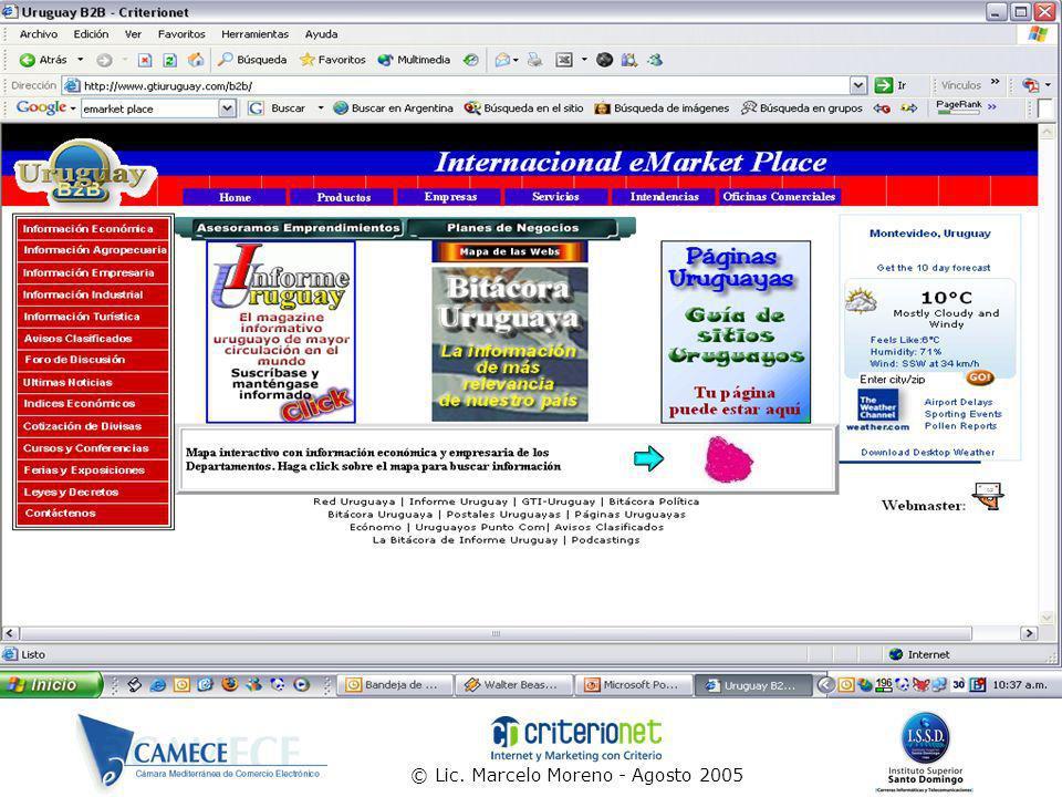 © Lic.Marcelo Moreno - Agosto 2005 49 Reglas y conceptos ¿En que le sirve Internet a la Empresa.