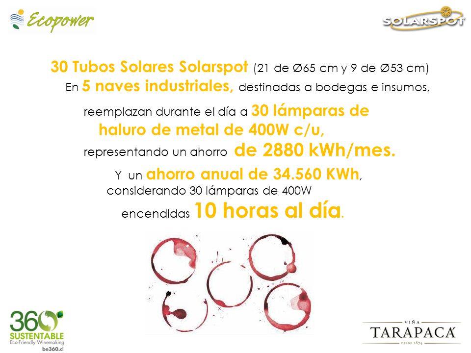 30 Tubos Solares Solarspot (21 de Ø65 cm y 9 de Ø53 cm) En 5 naves industriales, destinadas a bodegas e insumos, reemplazan durante el día a 30 lámpar