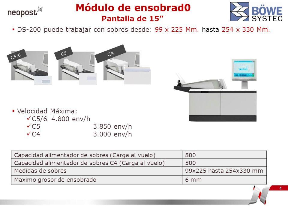 4 Velocidad Máxima: C5/6 4.800 env/h C5 3.850 env/h C4 3.000 env/h Capacidad alimentador de sobres (Carga al vuelo)800 Capacidad alimentador de sobres