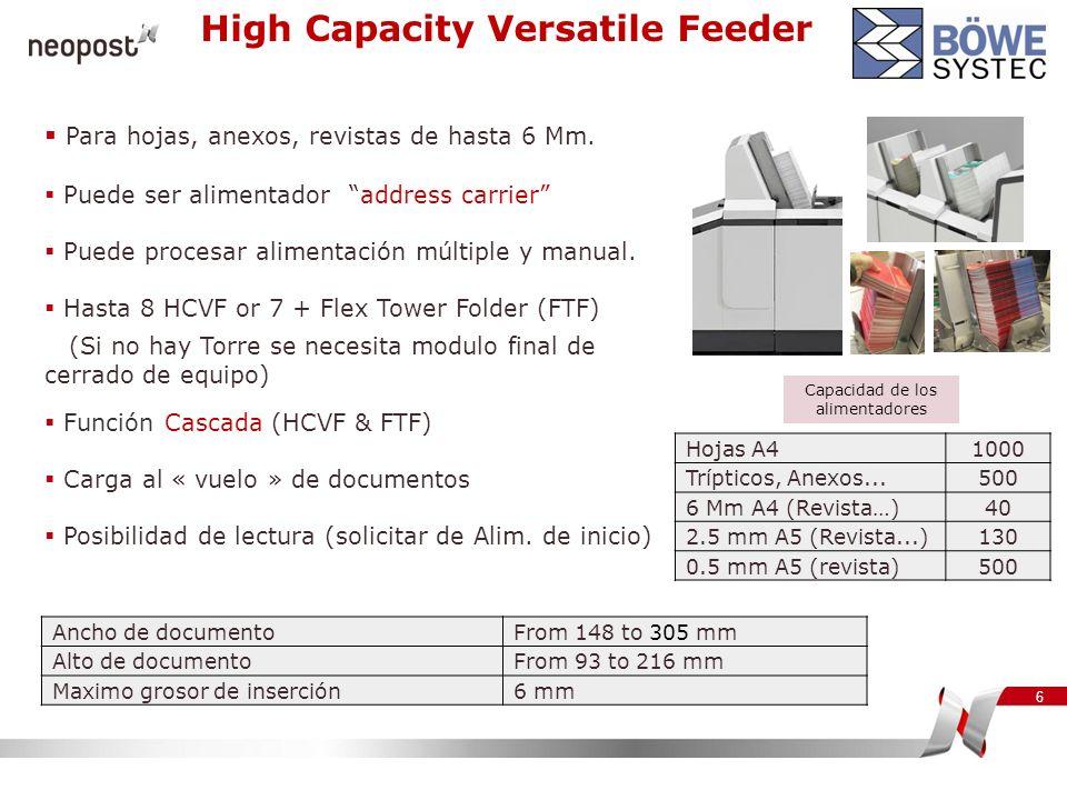 6 Para hojas, anexos, revistas de hasta 6 Mm. Puede ser alimentador address carrier Puede procesar alimentación múltiple y manual. Hasta 8 HCVF or 7 +