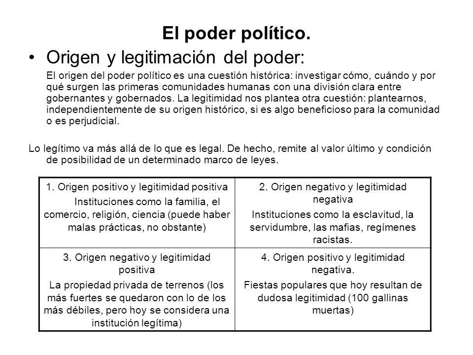 El poder político. Origen y legitimación del poder: El origen del poder político es una cuestión histórica: investigar cómo, cuándo y por qué surgen l