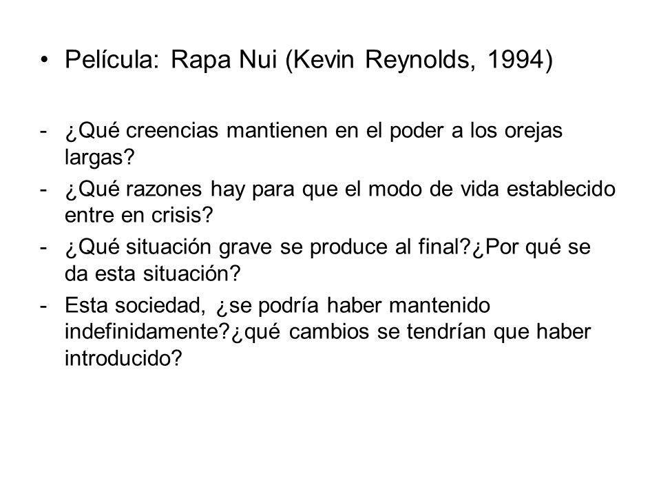 Película: Rapa Nui (Kevin Reynolds, 1994) -¿Qué creencias mantienen en el poder a los orejas largas? -¿Qué razones hay para que el modo de vida establ
