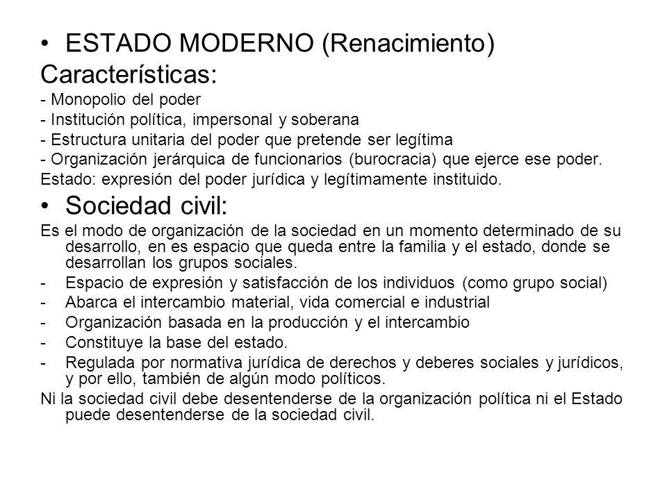ESTADO MODERNO (Renacimiento) Características: - Monopolio del poder - Institución política, impersonal y soberana - Estructura unitaria del poder que