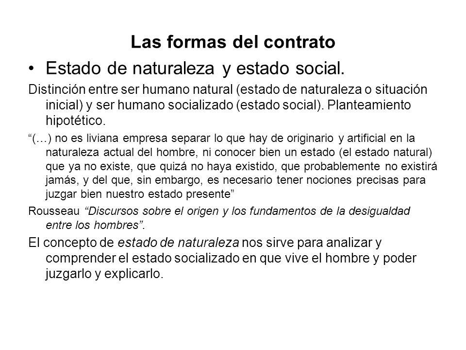 Las formas del contrato Estado de naturaleza y estado social. Distinción entre ser humano natural (estado de naturaleza o situación inicial) y ser hum