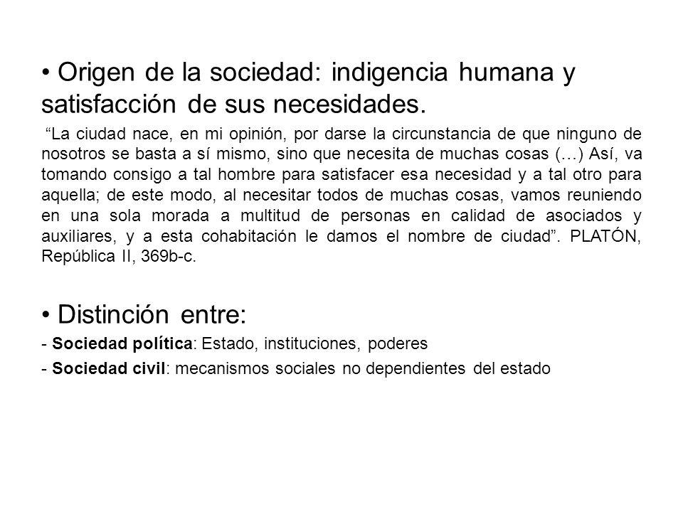 Origen de la sociedad: indigencia humana y satisfacción de sus necesidades. La ciudad nace, en mi opinión, por darse la circunstancia de que ninguno d
