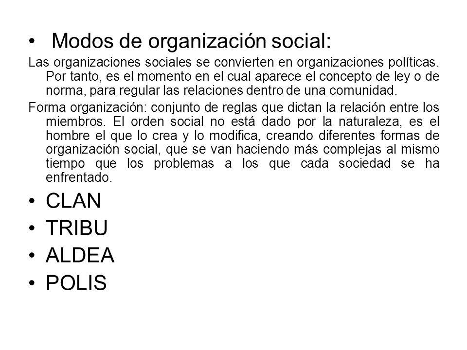 Modos de organización social: Las organizaciones sociales se convierten en organizaciones políticas. Por tanto, es el momento en el cual aparece el co