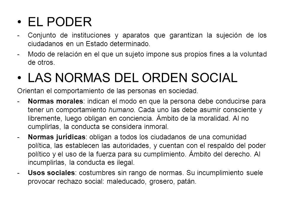 EL PODER -Conjunto de instituciones y aparatos que garantizan la sujeción de los ciudadanos en un Estado determinado. -Modo de relación en el que un s