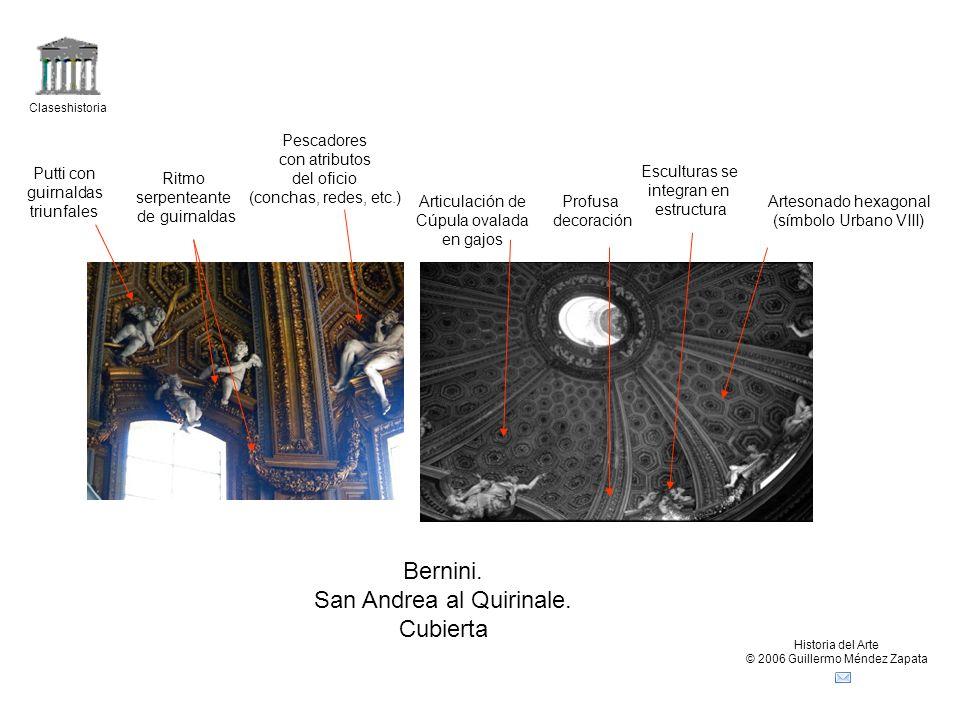 Claseshistoria Historia del Arte © 2006 Guillermo Méndez Zapata Bernini. San Andrea al Quirinale. Cubierta Artesonado hexagonal (símbolo Urbano VIII)