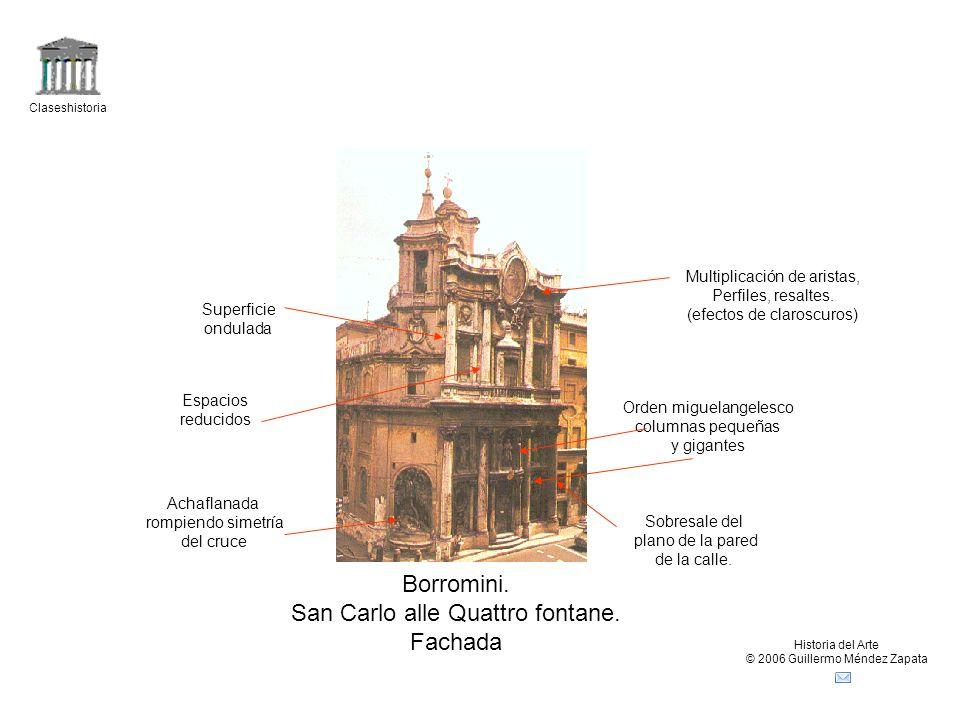 Claseshistoria Historia del Arte © 2006 Guillermo Méndez Zapata Borromini. San Carlo alle Quattro fontane. Fachada Achaflanada rompiendo simetría del