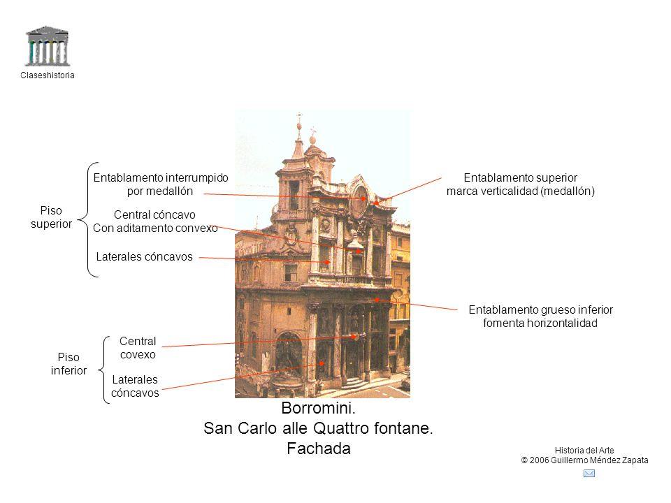 Claseshistoria Historia del Arte © 2006 Guillermo Méndez Zapata Borromini. San Carlo alle Quattro fontane. Fachada Piso inferior Laterales cóncavos Ce