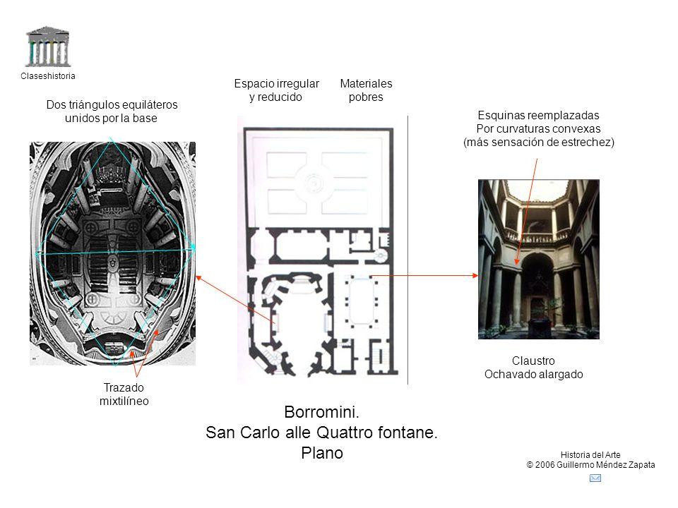 Claseshistoria Historia del Arte © 2006 Guillermo Méndez Zapata Borromini. San Carlo alle Quattro fontane. Plano Espacio irregular y reducido Claustro