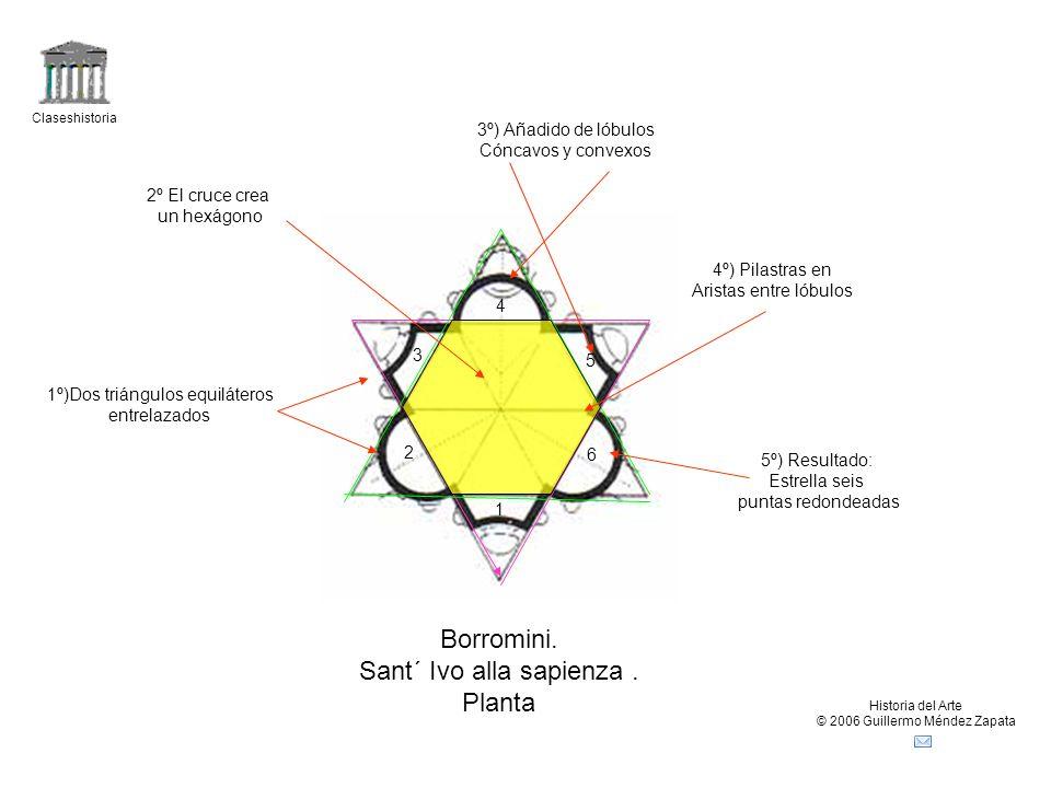 Claseshistoria Historia del Arte © 2006 Guillermo Méndez Zapata Borromini. Sant´ Ivo alla sapienza. Planta 1º)Dos triángulos equiláteros entrelazados