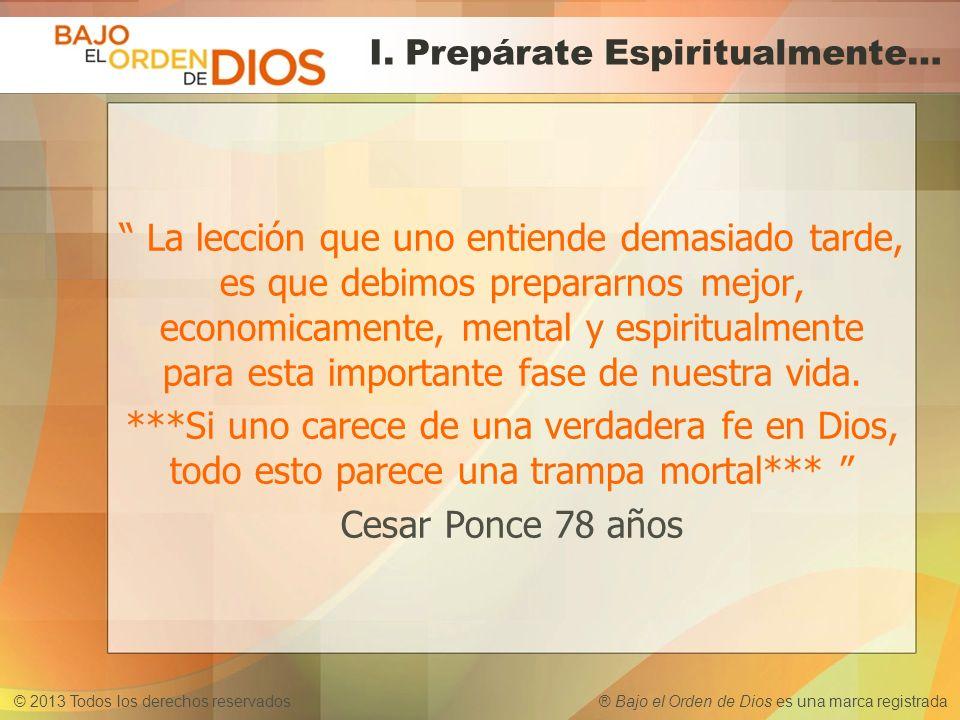 © 2013 Todos los derechos reservados ® Bajo el Orden de Dios es una marca registrada ¿Conoces el Problema....
