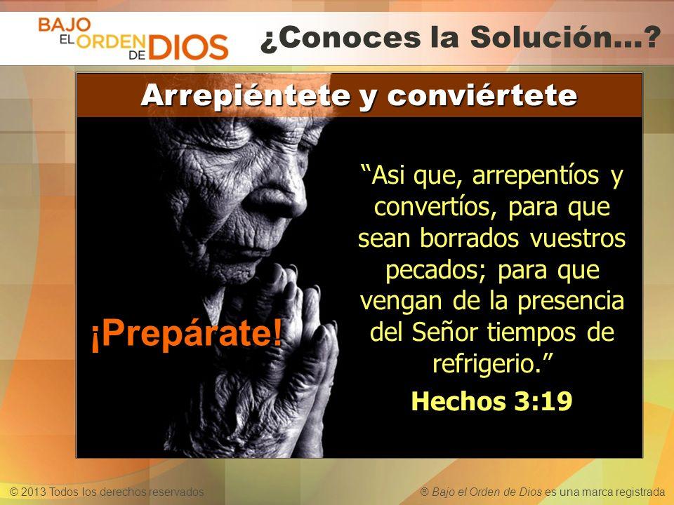 © 2013 Todos los derechos reservados ® Bajo el Orden de Dios es una marca registrada ¿Conoces el Nombre....