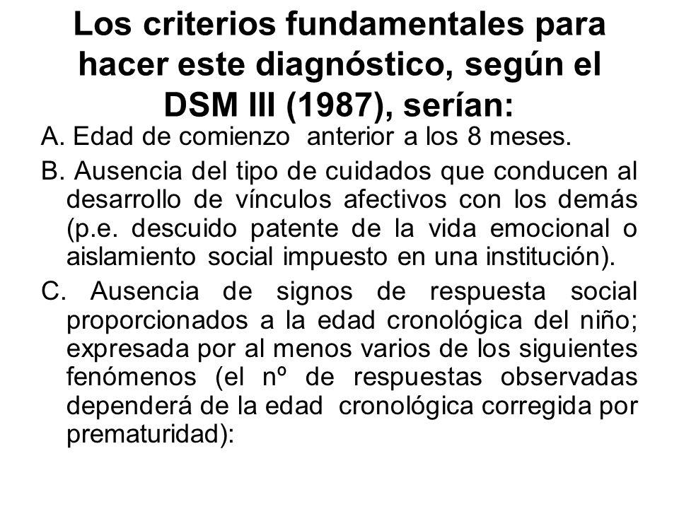 Los criterios fundamentales para hacer este diagnóstico, según el DSM III (1987), serían: A. Edad de comienzo anterior a los 8 meses. B. Ausencia del