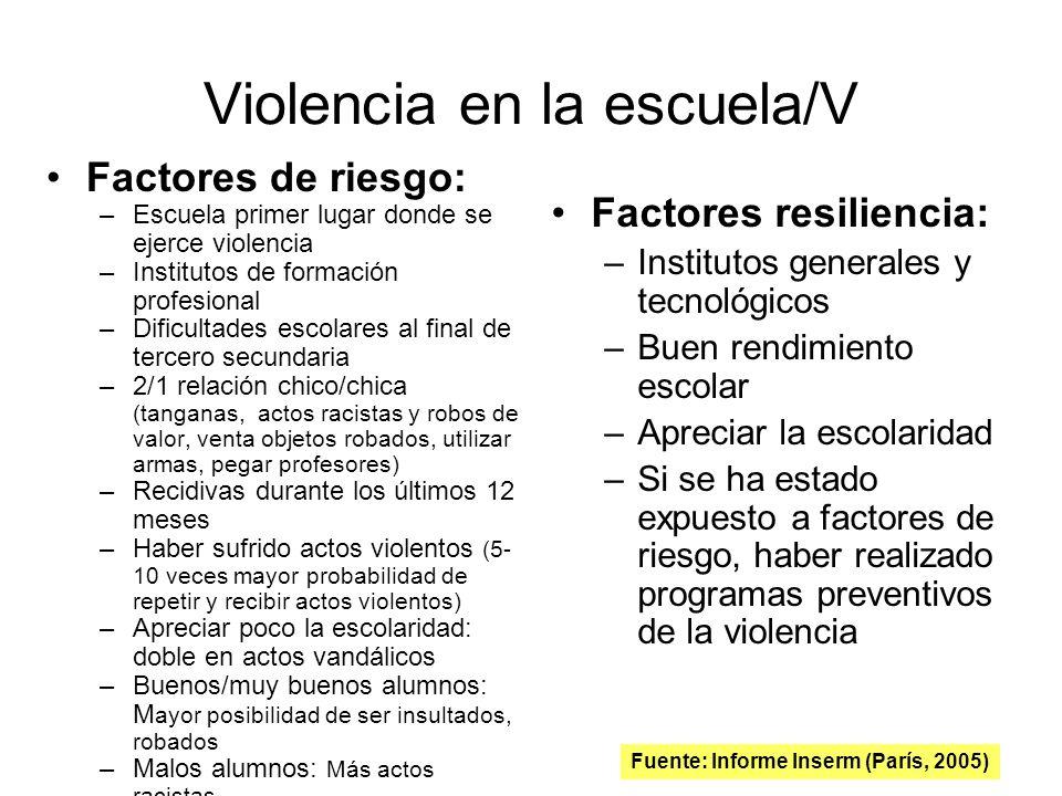 Violencia en la escuela/V Factores de riesgo: –Escuela primer lugar donde se ejerce violencia –Institutos de formación profesional –Dificultades escol