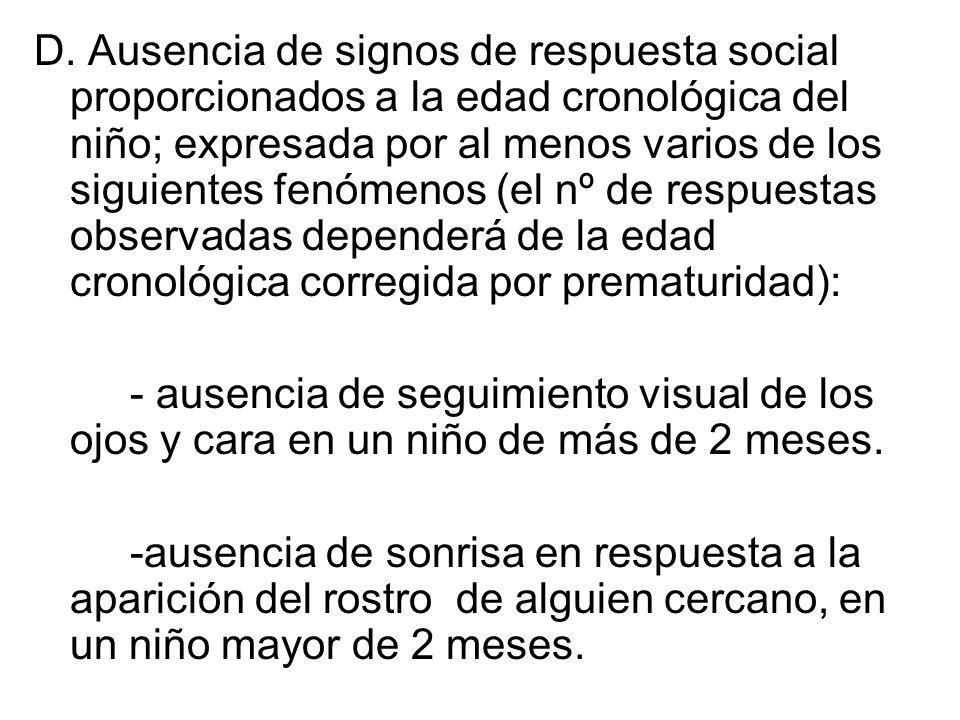 D. Ausencia de signos de respuesta social proporcionados a la edad cronológica del niño; expresada por al menos varios de los siguientes fenómenos (el