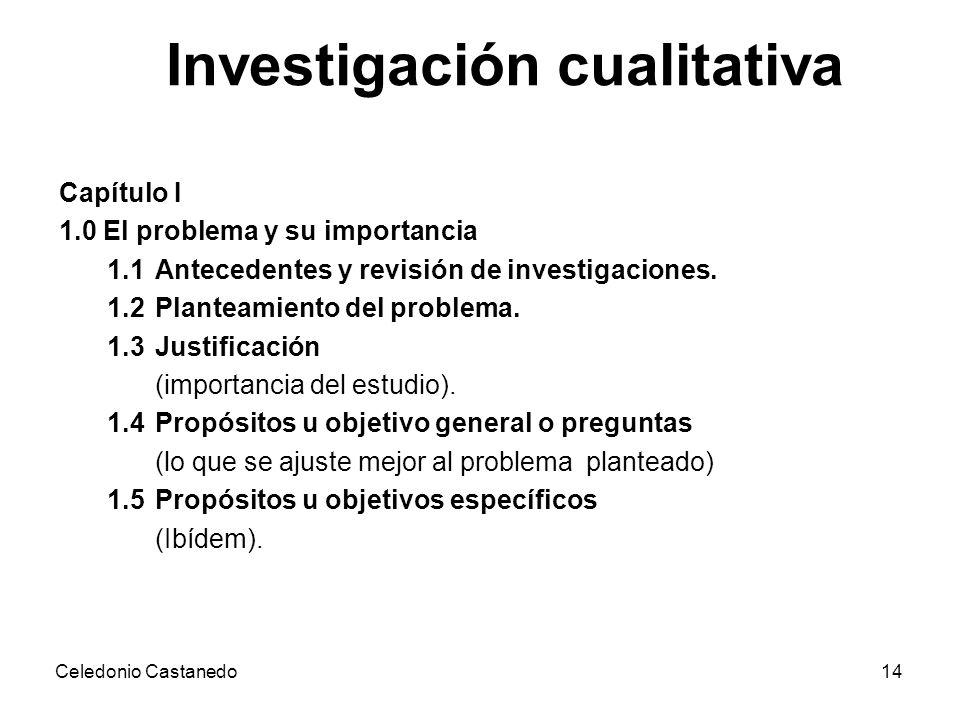 Investigación cualitativa Capítulo I 1.0 El problema y su importancia 1.1 Antecedentes y revisión de investigaciones. 1.2 Planteamiento del problema.