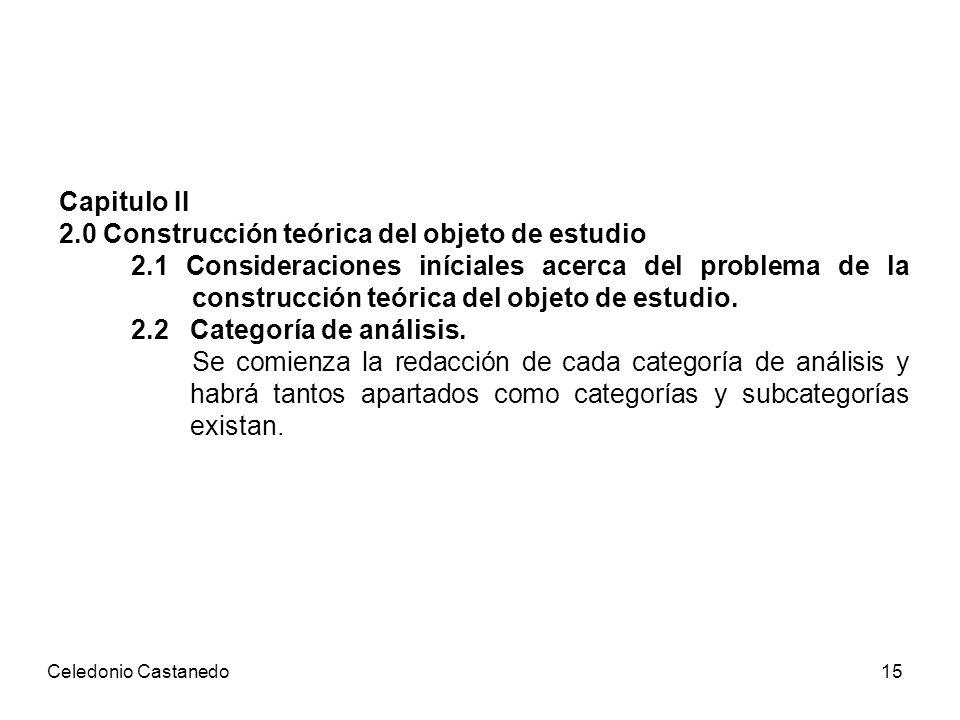 Capitulo II 2.0 Construcción teórica del objeto de estudio 2.1 Consideraciones iníciales acerca del problema de la construcción teórica del objeto de