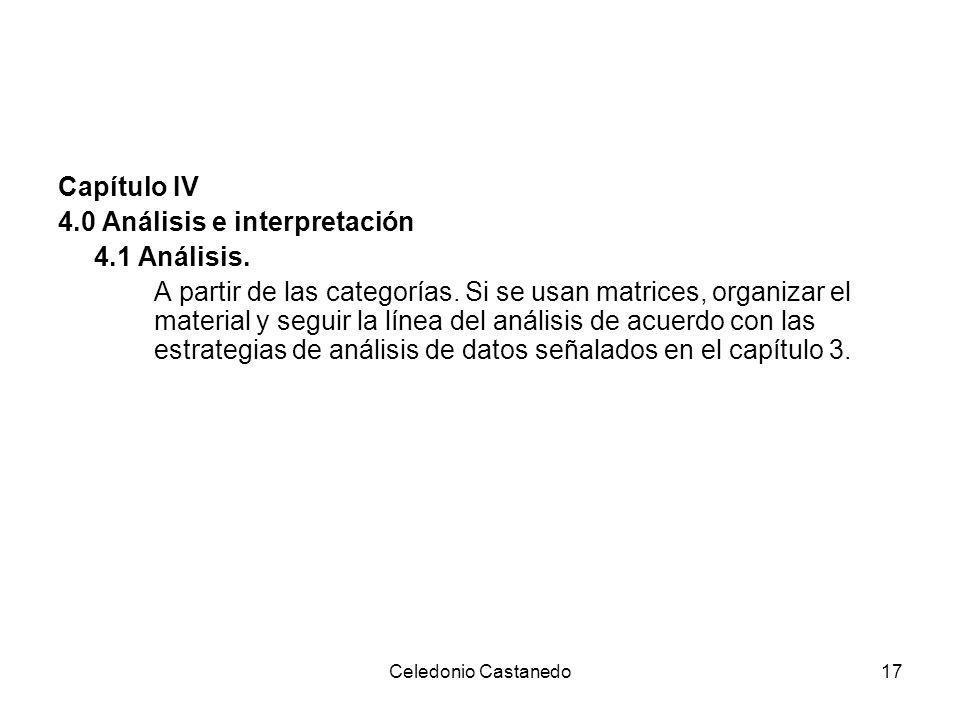 Capítulo IV 4.0 Análisis e interpretación 4.1 Análisis. A partir de las categorías. Si se usan matrices, organizar el material y seguir la línea del a