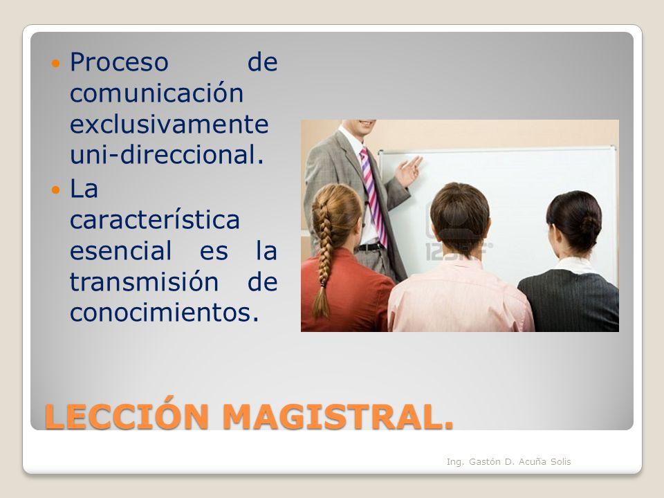 LECCIÓN MAGISTRAL. Proceso de comunicación exclusivamente uni-direccional. La característica esencial es la transmisión de conocimientos. Ing. Gastón