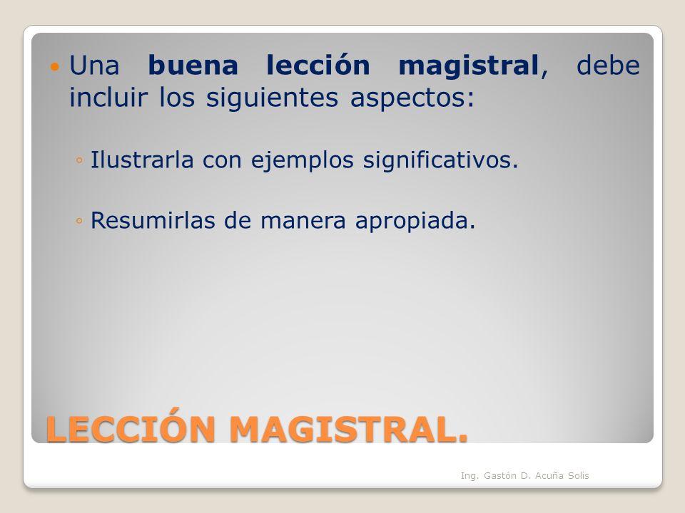 LECCIÓN MAGISTRAL. Una buena lección magistral, debe incluir los siguientes aspectos: Ilustrarla con ejemplos significativos. Resumirlas de manera apr