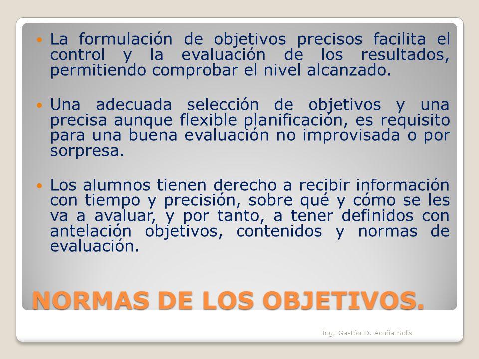 NORMAS DE LOS OBJETIVOS. La formulación de objetivos precisos facilita el control y la evaluación de los resultados, permitiendo comprobar el nivel al