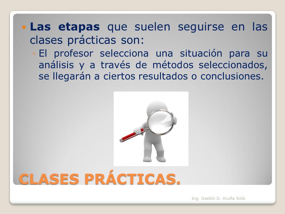 CLASES PRÁCTICAS. Las etapas que suelen seguirse en las clases prácticas son: El profesor selecciona una situación para su análisis y a través de méto