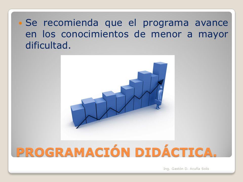 PROGRAMACIÓN DIDÁCTICA. Se recomienda que el programa avance en los conocimientos de menor a mayor dificultad. Ing. Gastón D. Acuña Solis