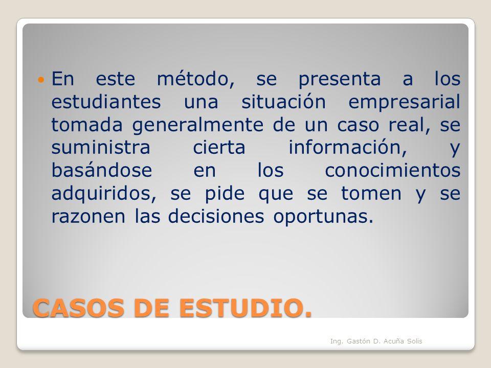 CASOS DE ESTUDIO. En este método, se presenta a los estudiantes una situación empresarial tomada generalmente de un caso real, se suministra cierta in