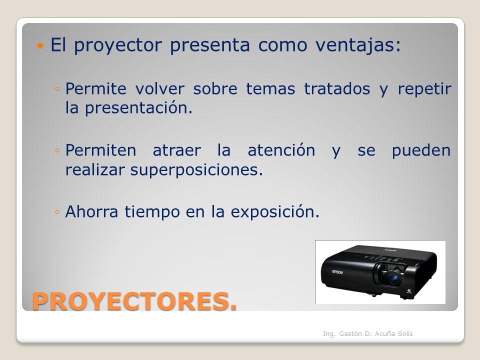PROYECTORES. El proyector presenta como ventajas: Permite volver sobre temas tratados y repetir la presentación. Permiten atraer la atención y se pued
