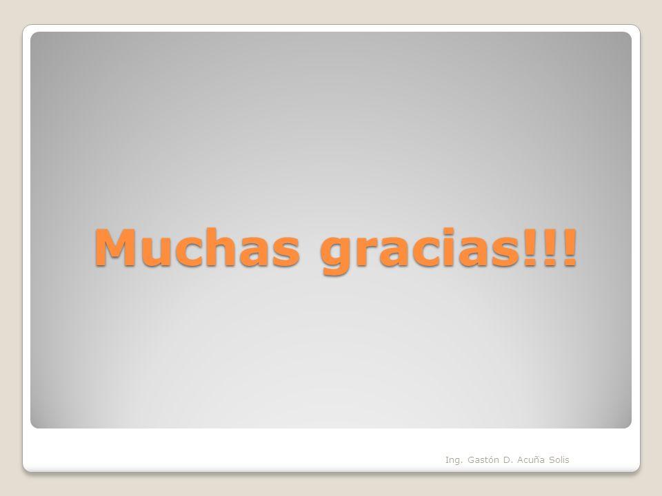 Muchas gracias!!! Ing. Gastón D. Acuña Solis