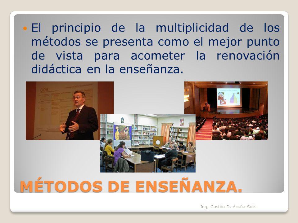 MÉTODOS DE ENSEÑANZA. El principio de la multiplicidad de los métodos se presenta como el mejor punto de vista para acometer la renovación didáctica e