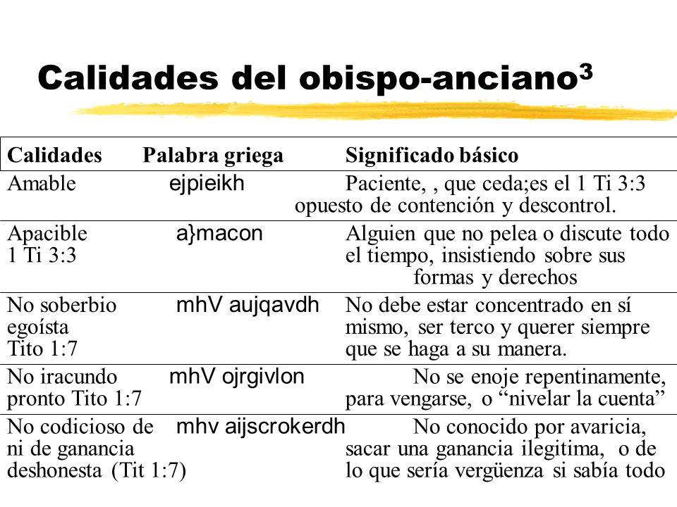 Calidades del obispo-anciano 3 Amable ejpieikh Paciente,, que ceda;es el 1 Ti 3:3 opuesto de contención y descontrol. Apacible a}macon Alguien que no