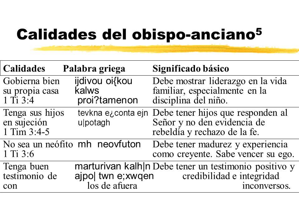 Calidades del obispo-anciano 5 Gobierna bien ijdivou oi{kou Debe mostrar liderazgo en la vida su propia casa kalws familiar, especialmente en la 1 Ti