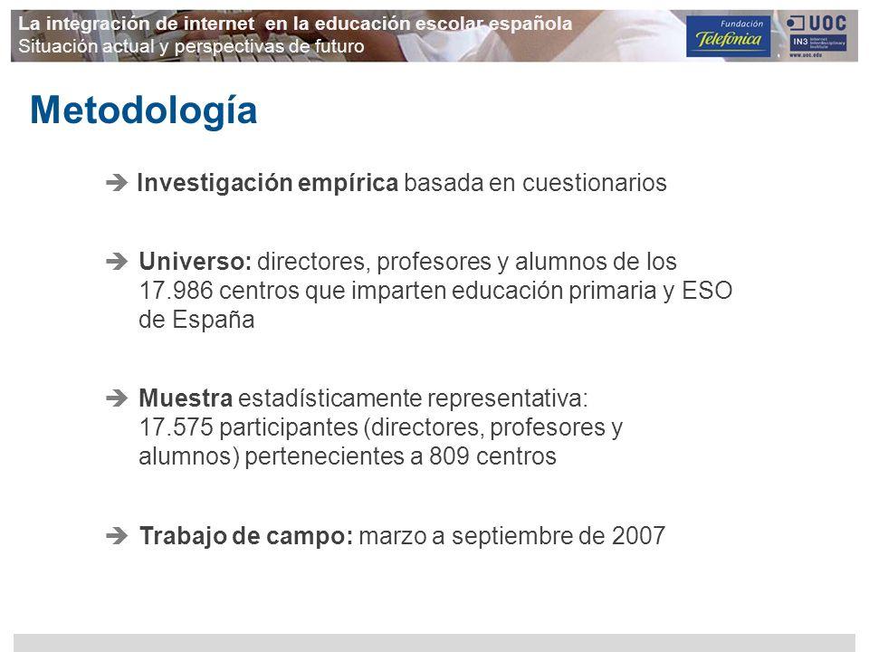 Investigación empírica basada en cuestionarios Metodología La integración de internet en la educación escolar española Situación actual y perspectivas